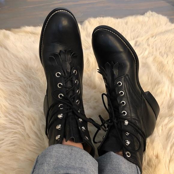 d439ea13386bc Justin black lace up leather combat boots